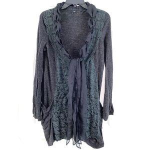 RYU Black Lace Ribbon Ruffle Boho Cardigan Size S